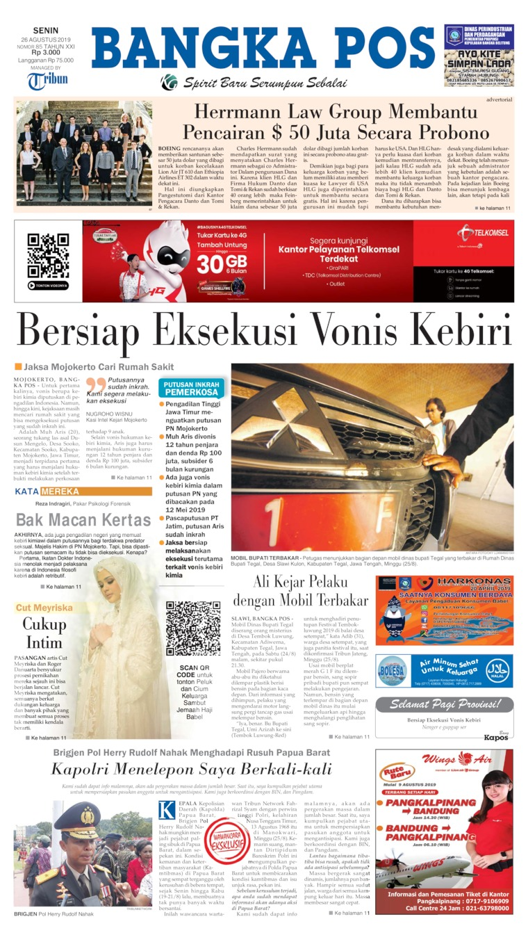 Bangka Pos Digital Newspaper 26 August 2019