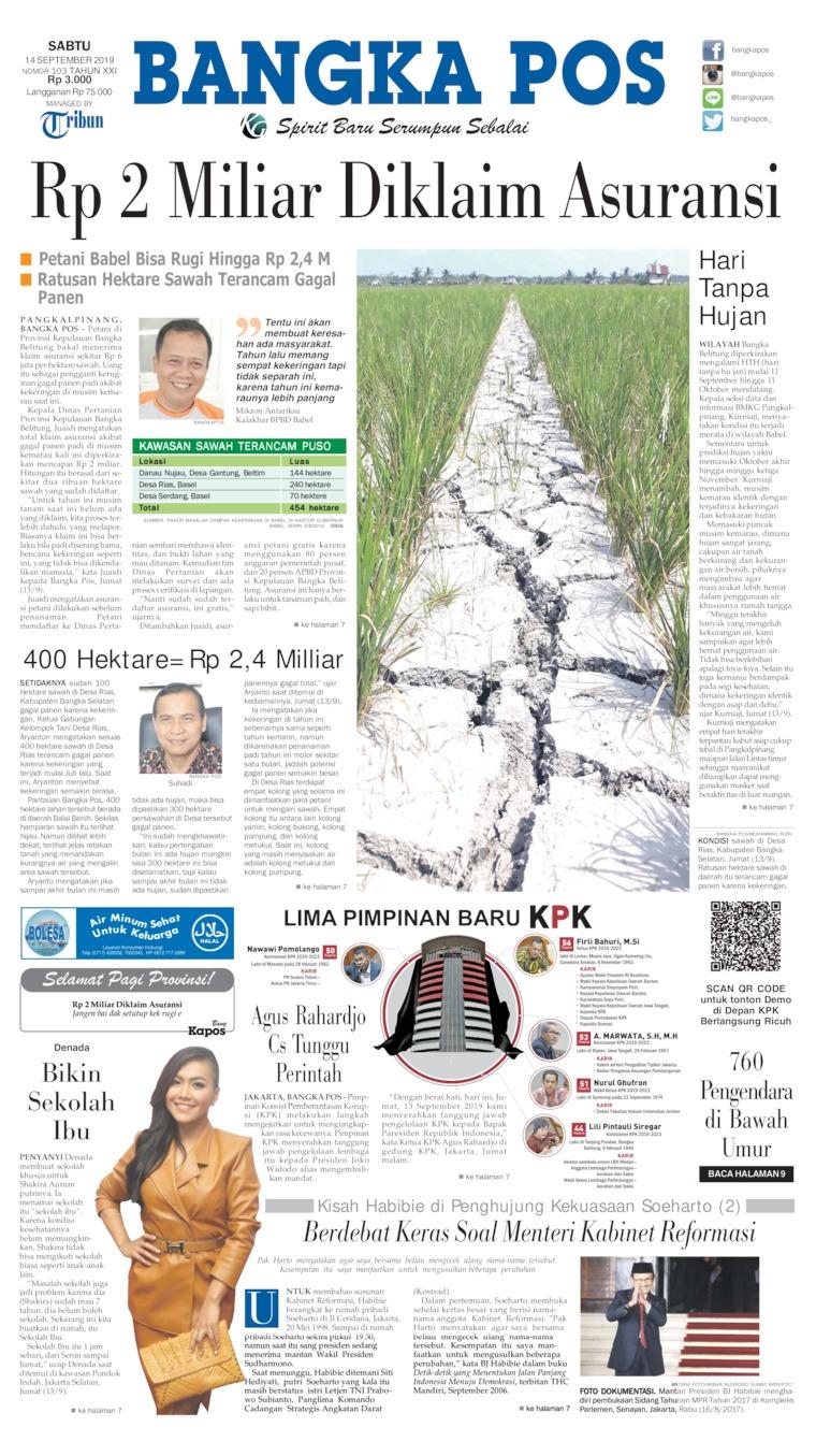 Koran Digital Bangka Pos 14 September 2019
