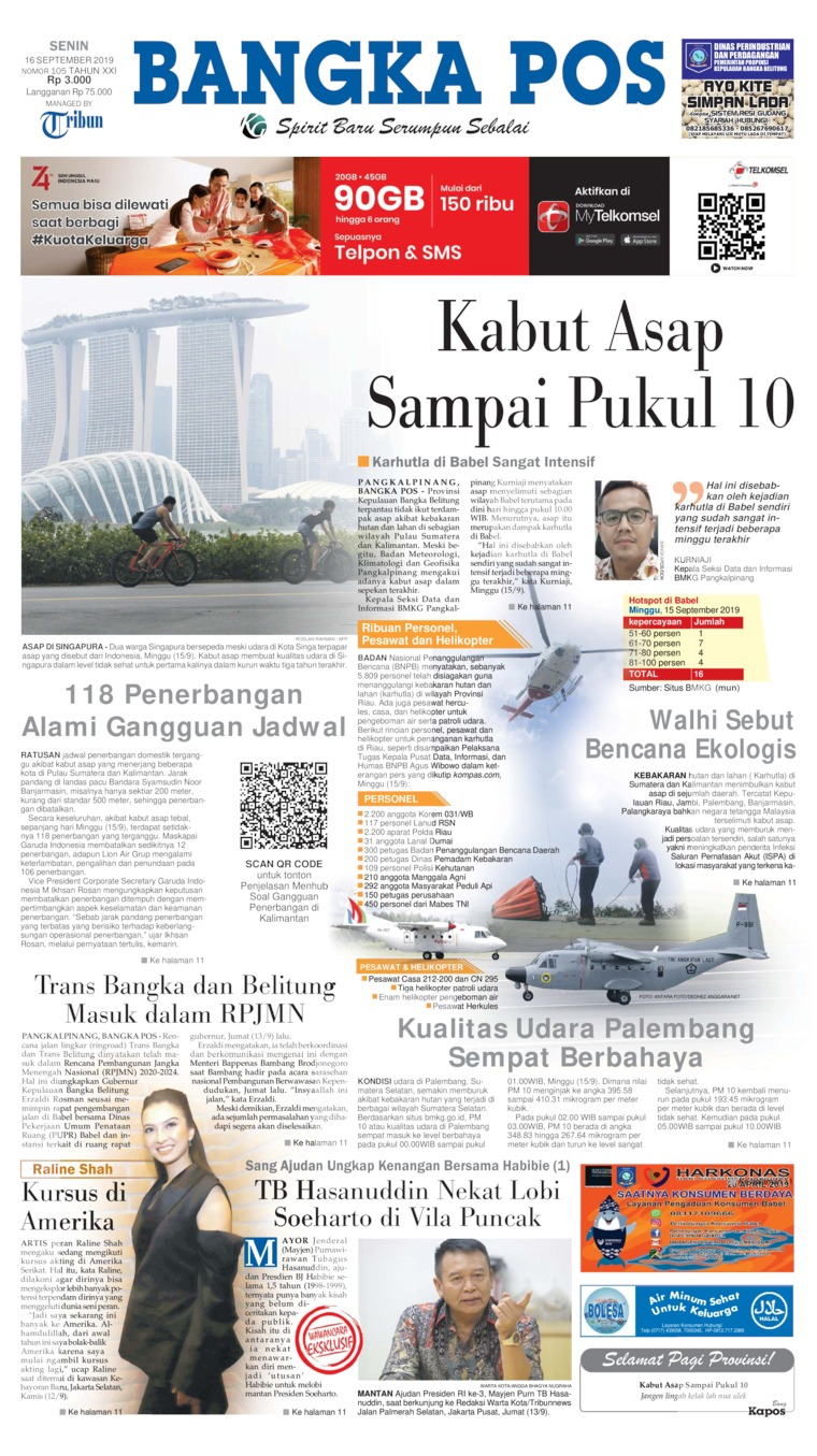 Koran Digital Bangka Pos 16 September 2019