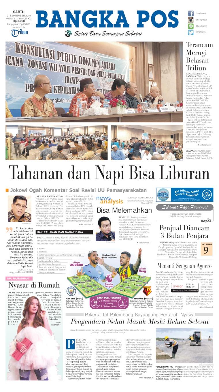 Bangka Pos Digital Newspaper 21 September 2019