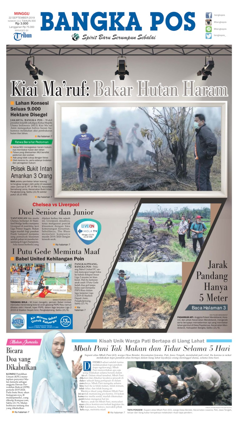 Bangka Pos Digital Newspaper 22 September 2019