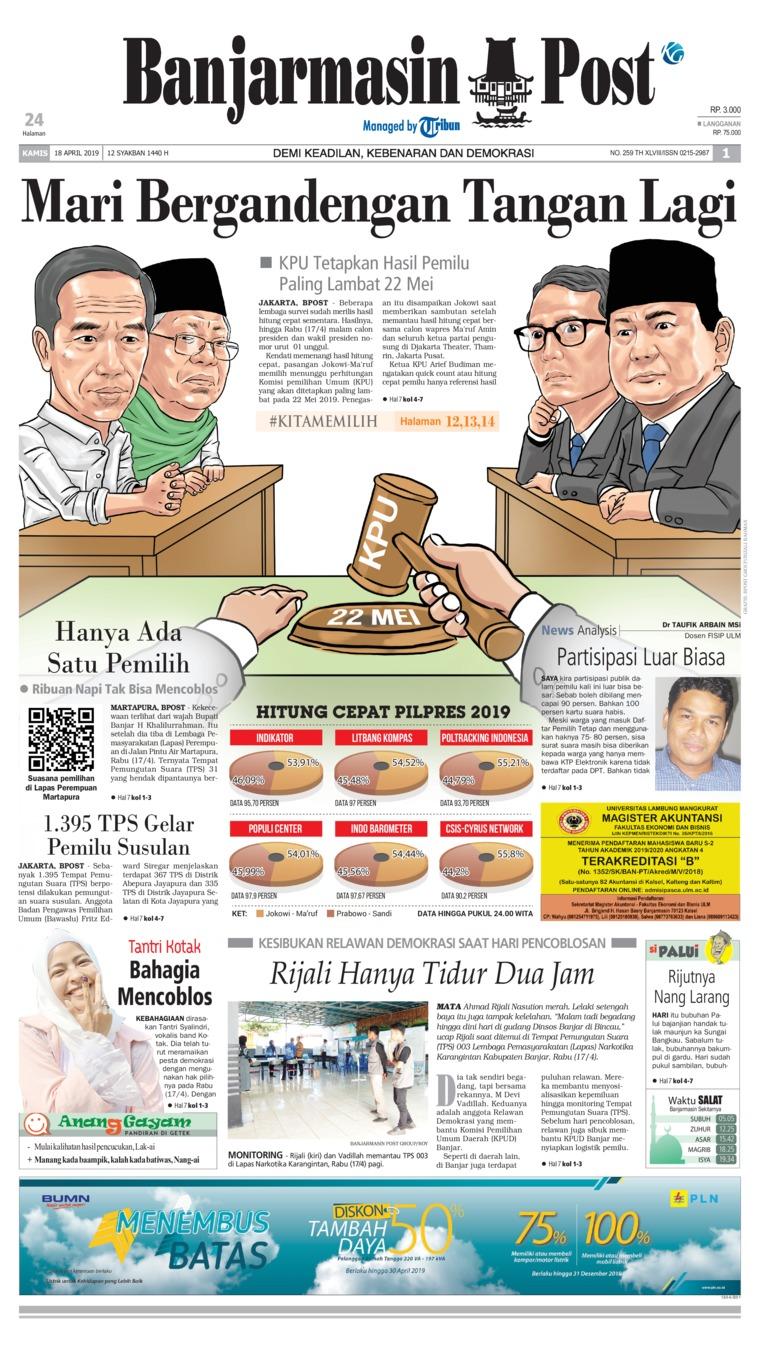 Banjarmasin Post Digital Newspaper 18 April 2019