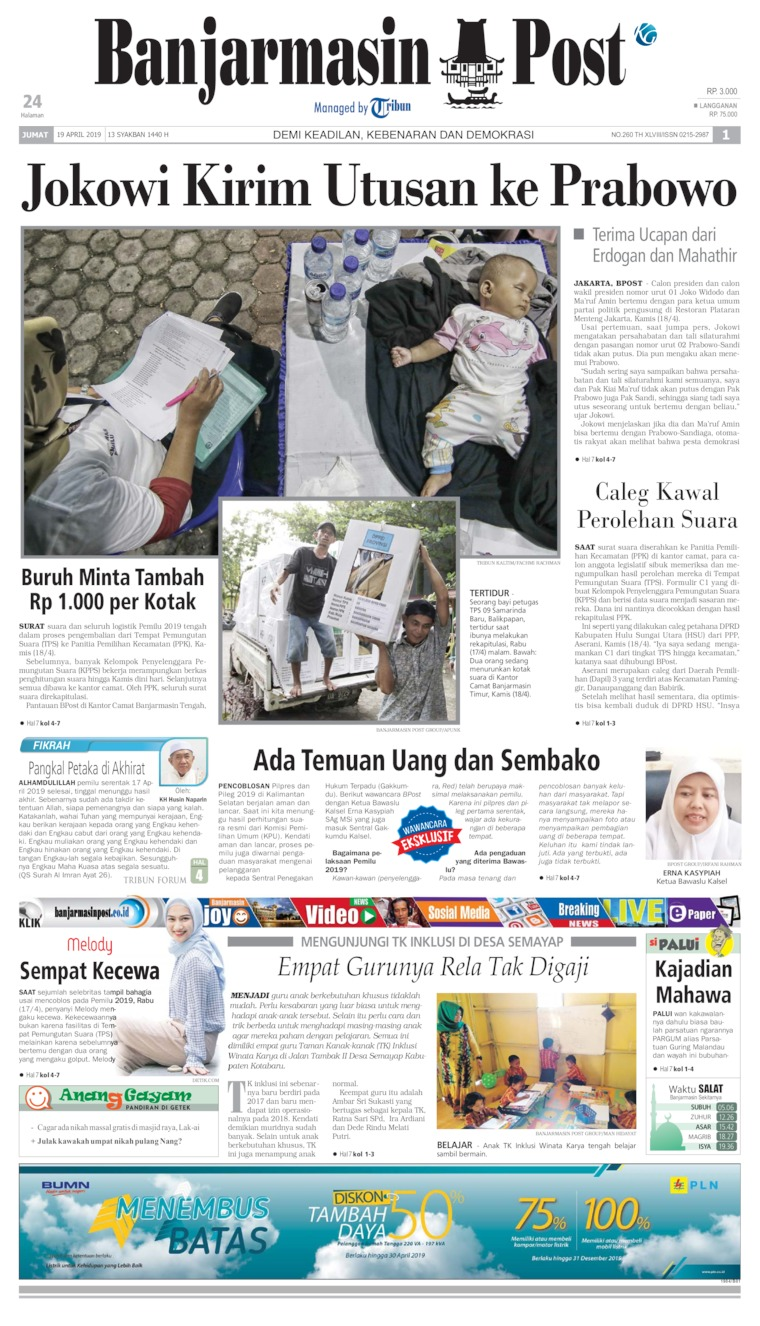 Banjarmasin Post Digital Newspaper 19 April 2019