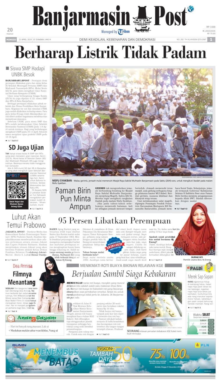 Koran Digital Banjarmasin Post 21 April 2019