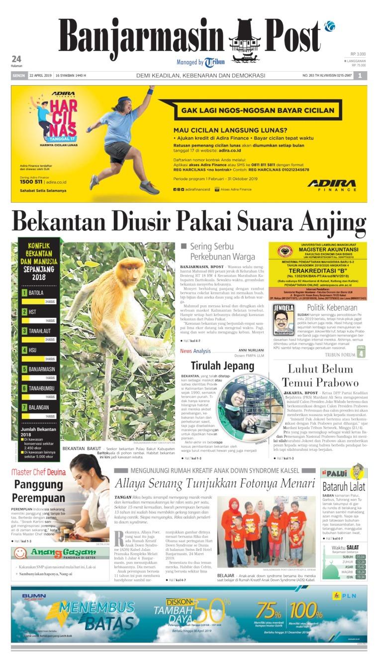 Banjarmasin Post Digital Newspaper 22 April 2019