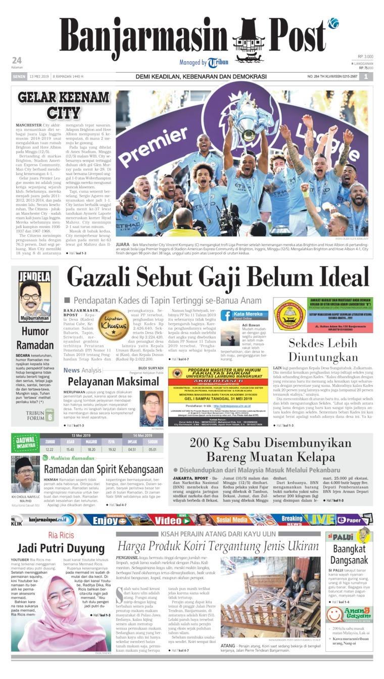 Koran Digital Banjarmasin Post 13 Mei 2019