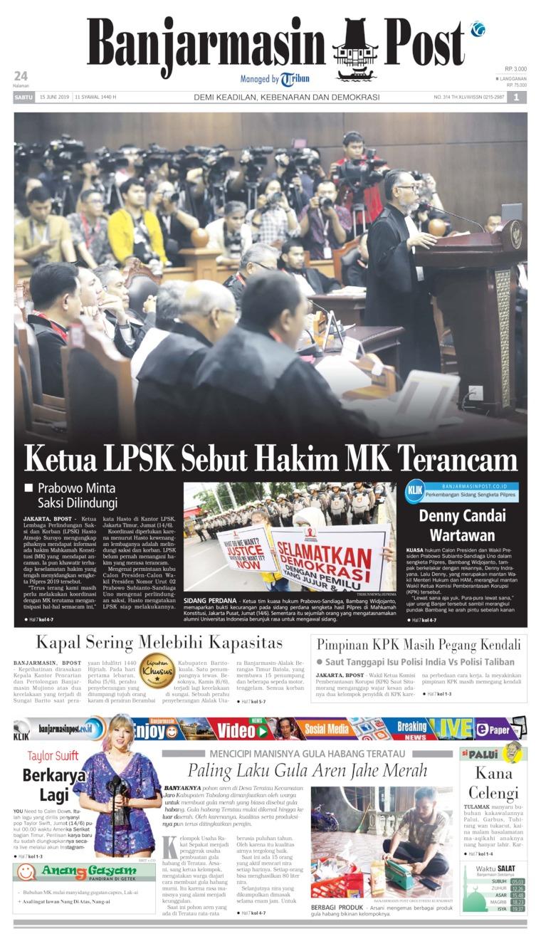 Koran Digital Banjarmasin Post 15 Juni 2019