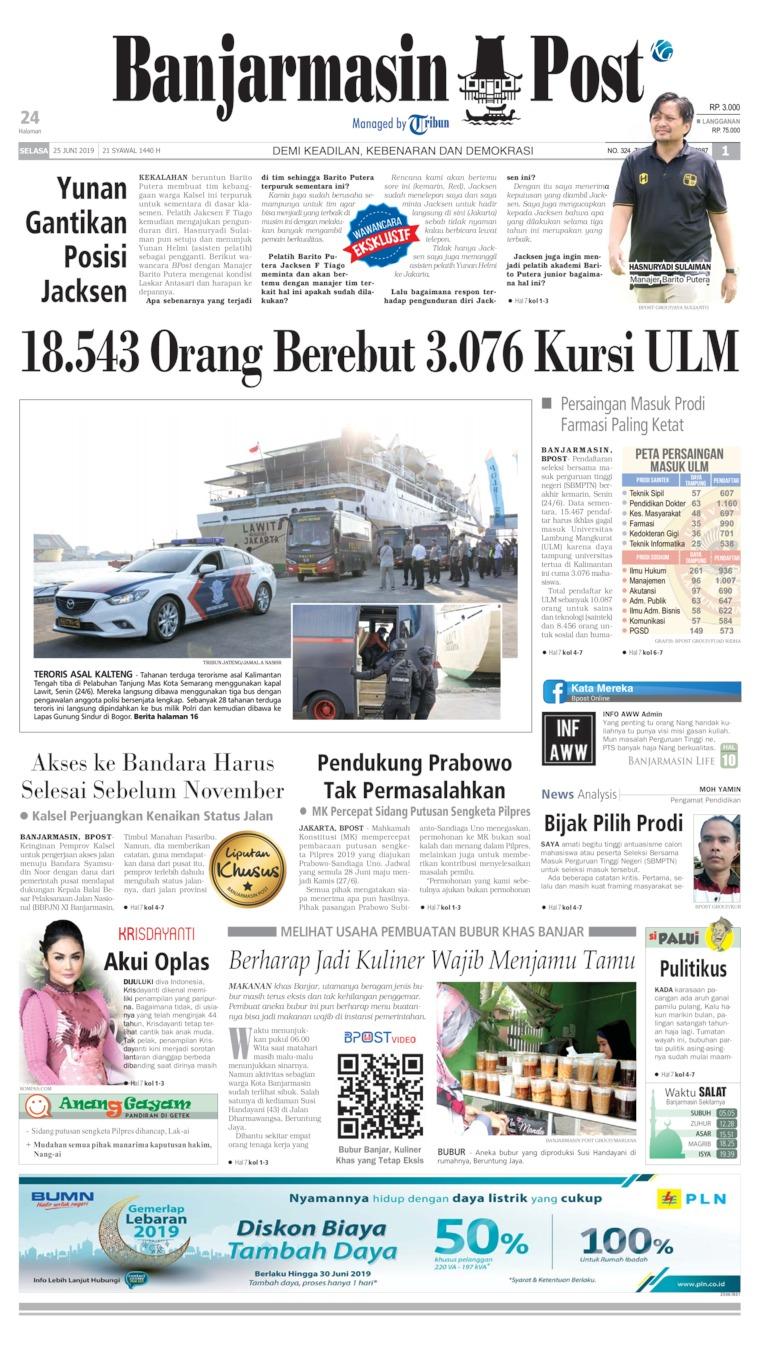 Koran Digital Banjarmasin Post 25 Juni 2019