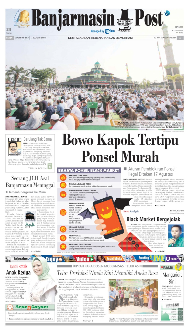 Banjarmasin Post Digital Newspaper 12 August 2019