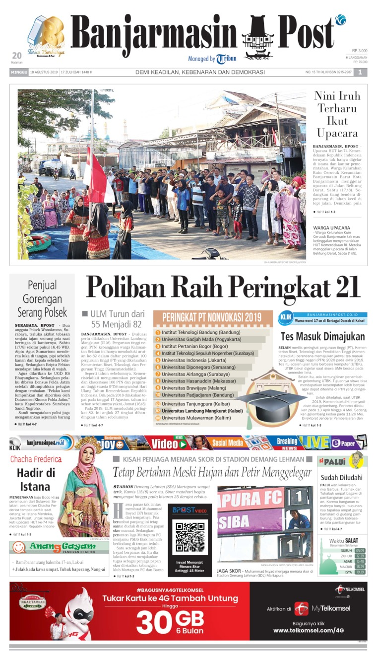 Banjarmasin Post Digital Newspaper 18 August 2019