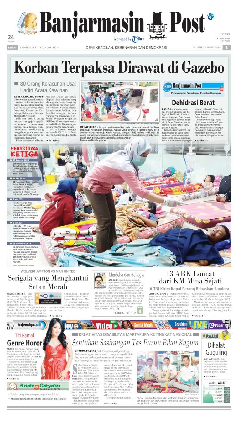 Koran Digital Banjarmasin Post 19 Agustus 2019