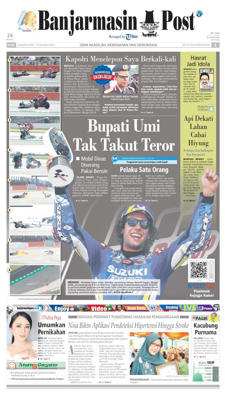 Banjarmasin Post Digital Newspaper 26 August 2019