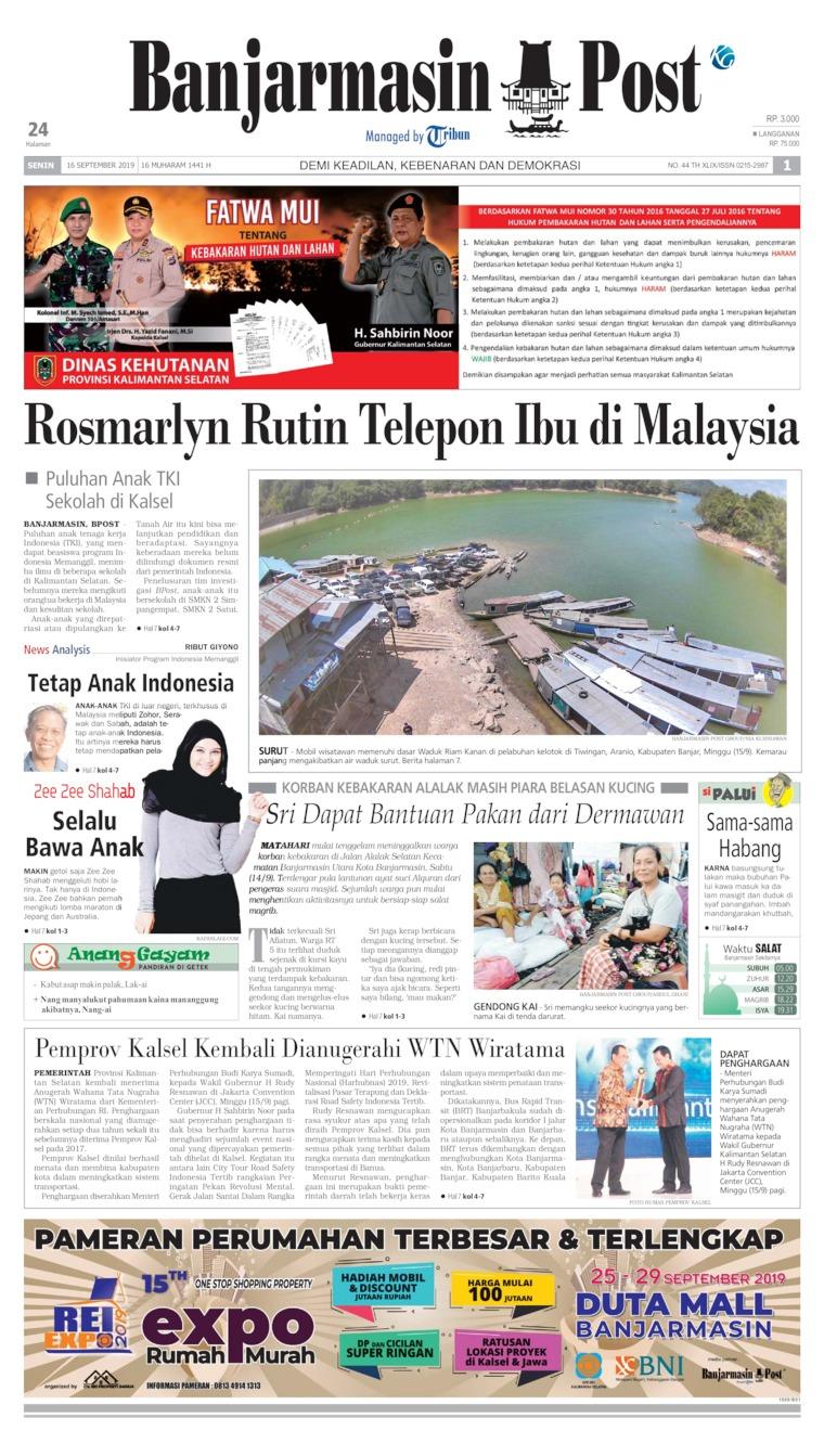 Banjarmasin Post Digital Newspaper 16 September 2019