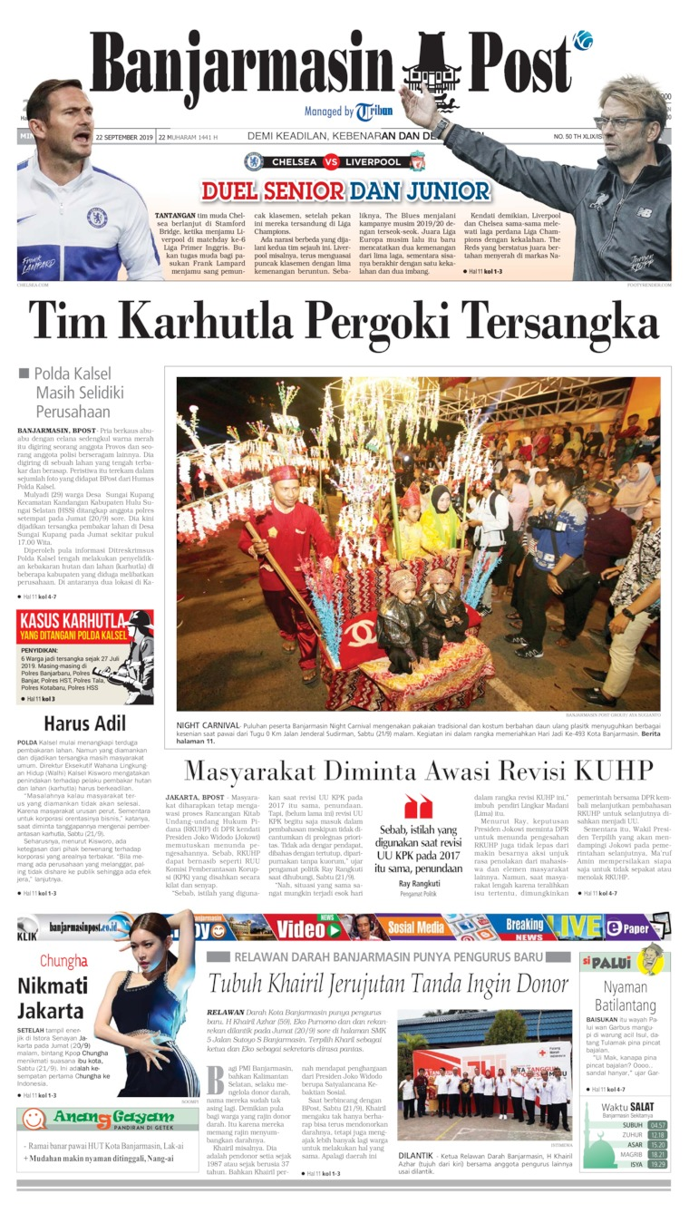 Banjarmasin Post Digital Newspaper 22 September 2019