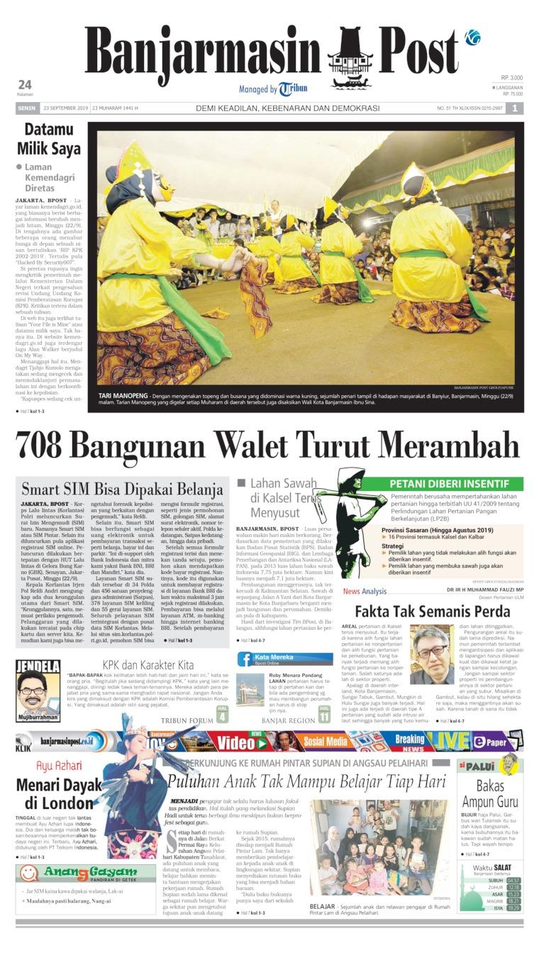 Koran Digital Banjarmasin Post 23 September 2019