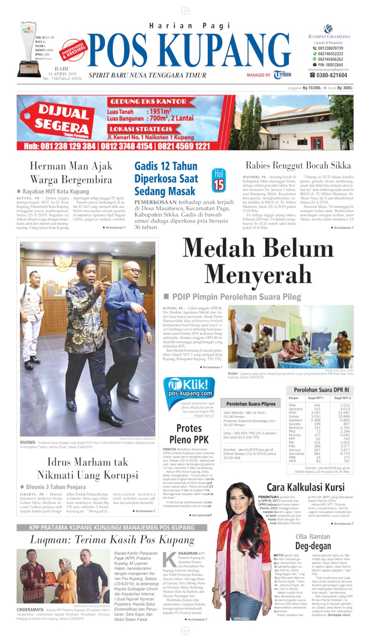 Pos Kupang Digital Newspaper 24 April 2019