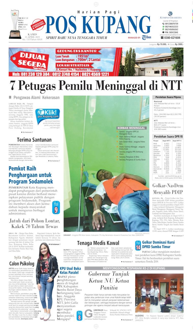 Pos Kupang Digital Newspaper 25 April 2019
