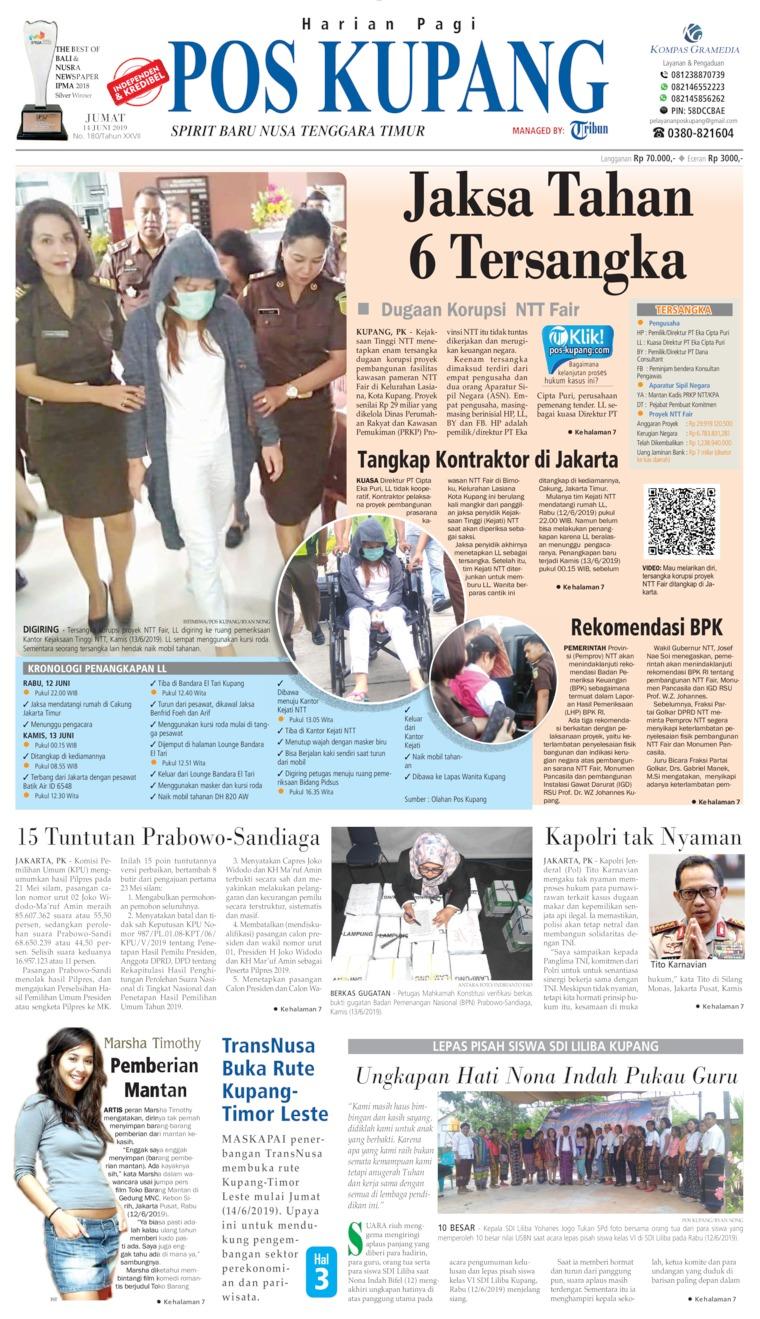Pos Kupang Newspaper 14 June 2019 - Gramedia Digital