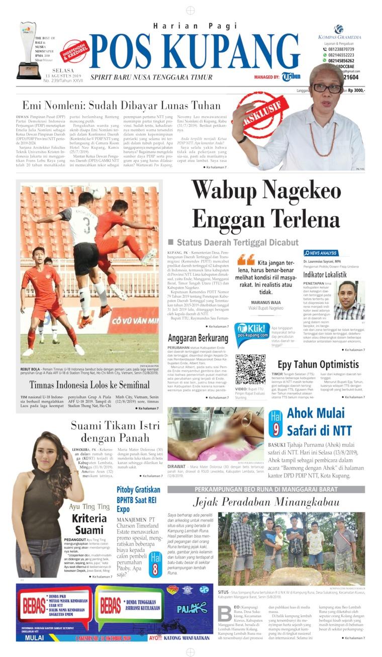 Pos Kupang Digital Newspaper 13 August 2019