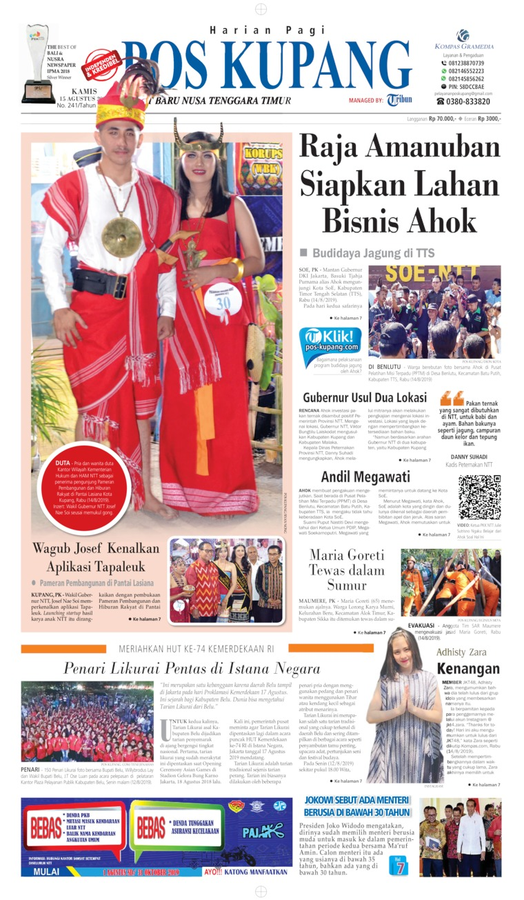 Pos Kupang Digital Newspaper 15 August 2019