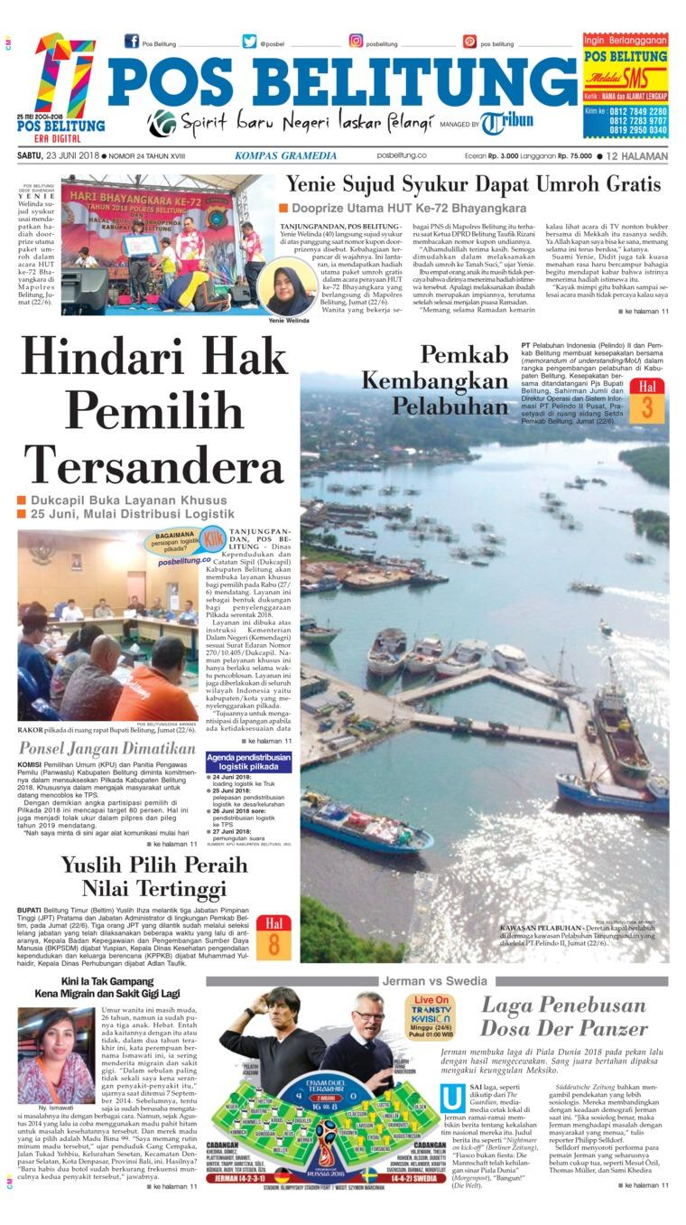 Koran Digital Pos Belitung 23 Juni 2018
