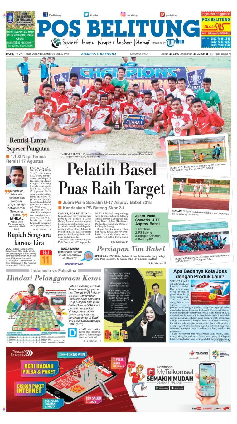 Koran Digital Pos Belitung 15 Agustus 2018