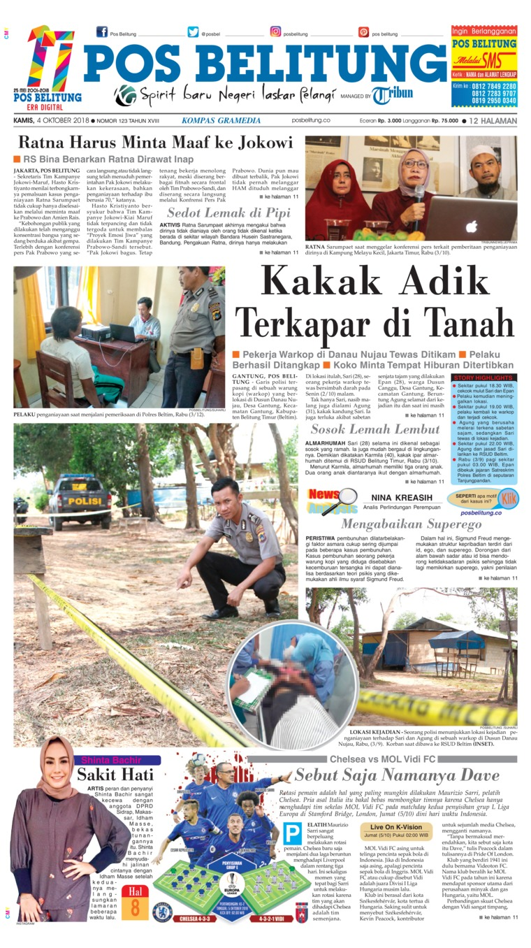 Pos Belitung Newspaper 04 October 2018 Gramedia Digital