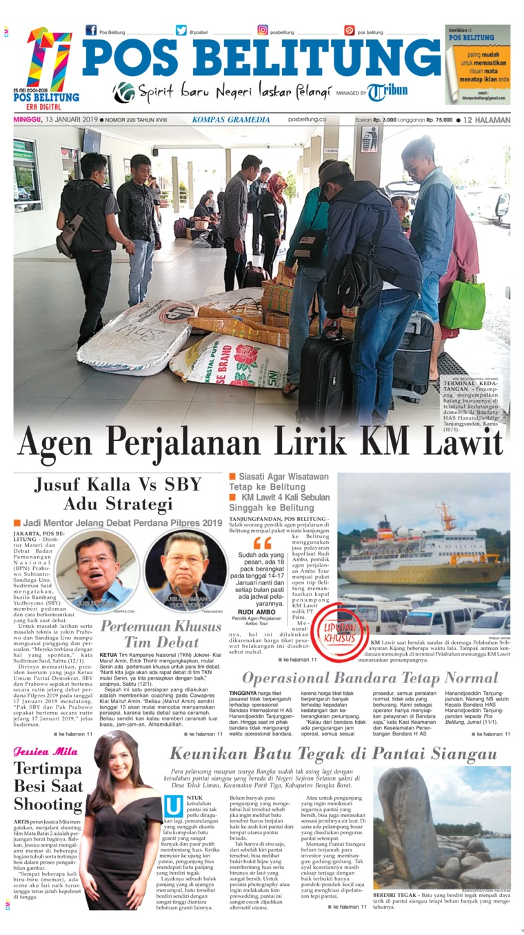 Koran Digital Pos Belitung 13 Januari 2019