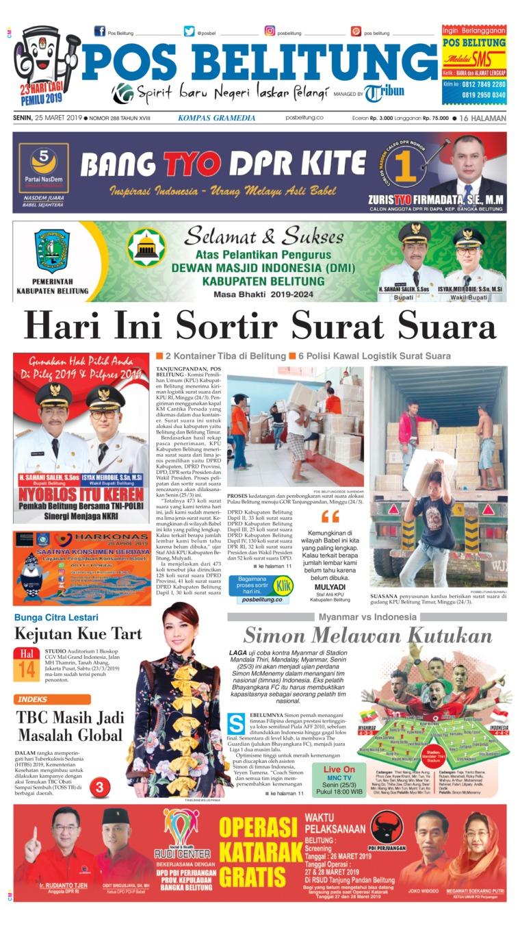 Koran Digital Pos Belitung 25 Maret 2019