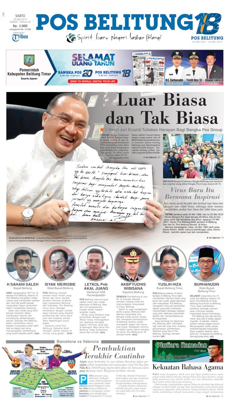 Koran Digital Pos Belitung 25 Mei 2019