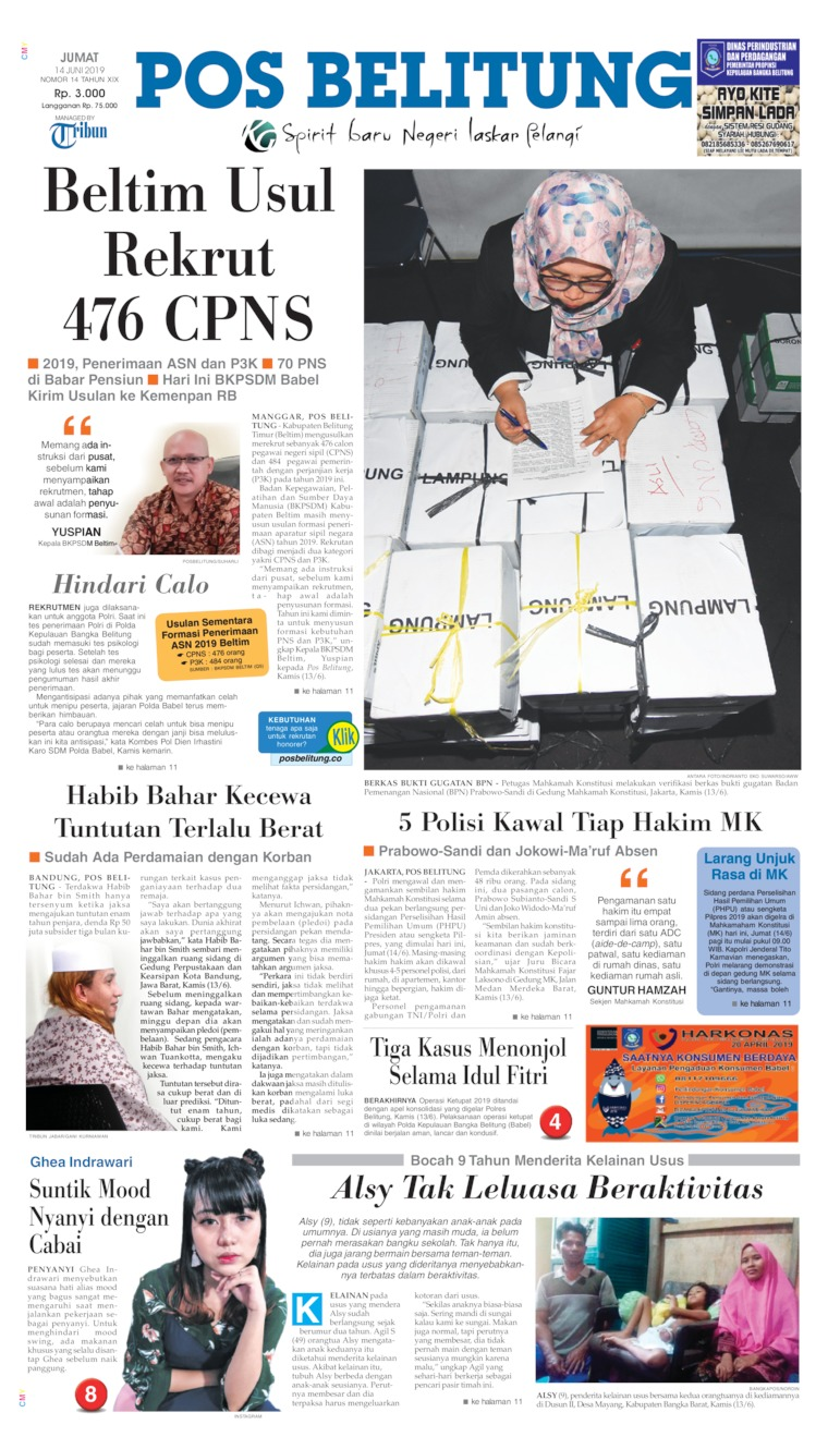 Pos Belitung Digital Newspaper 14 June 2019