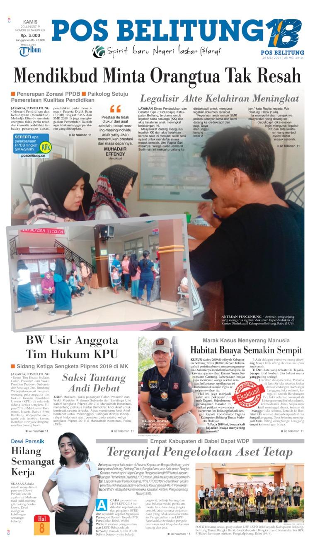 Koran Digital Pos Belitung 20 Juni 2019