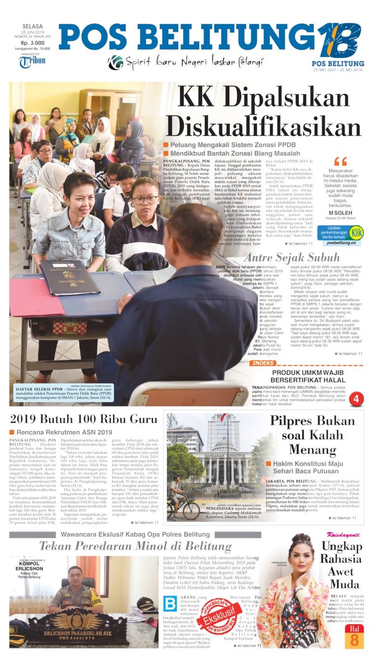 Koran Digital Pos Belitung 25 Juni 2019