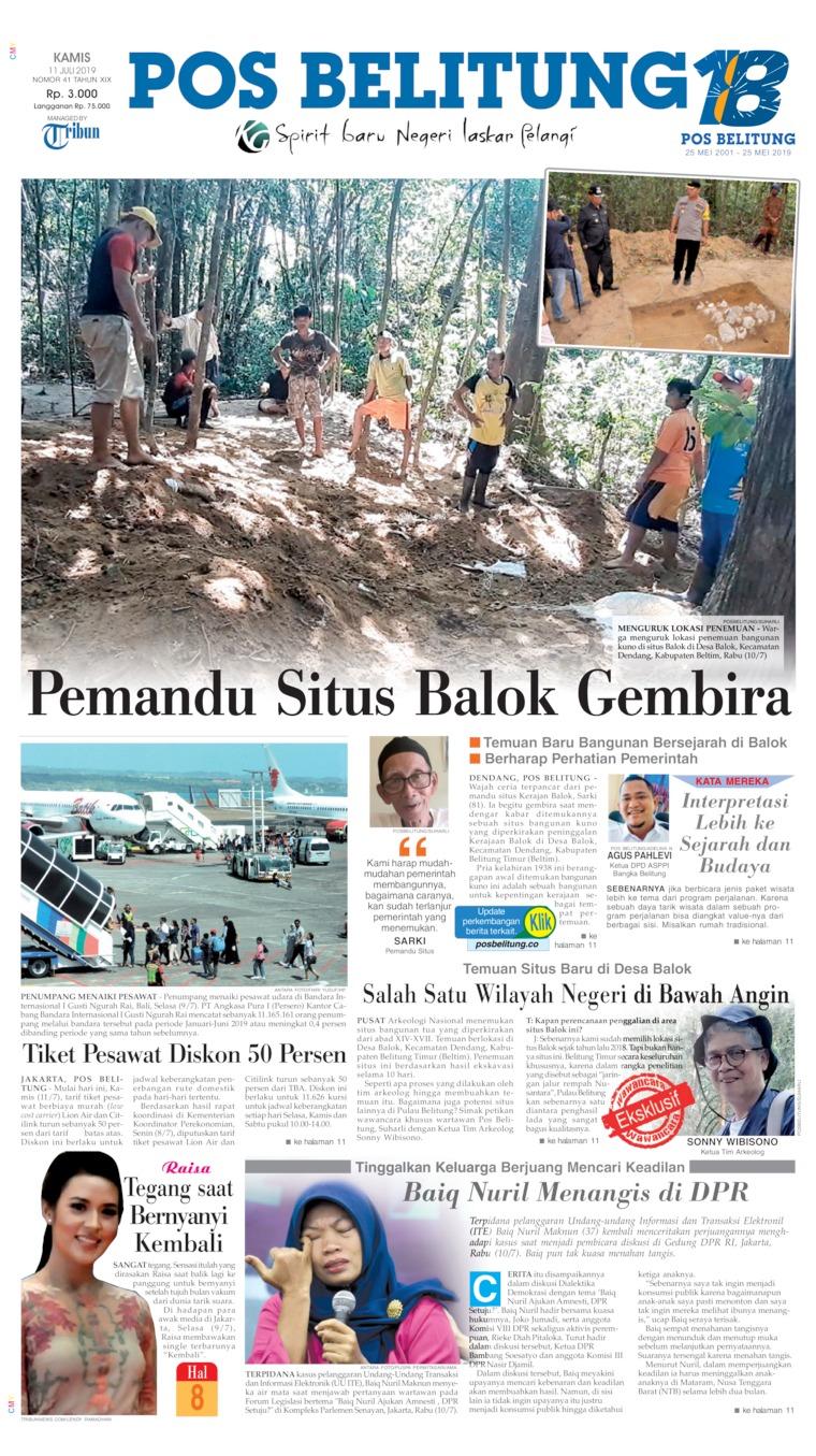 Koran Digital Pos Belitung 11 Juli 2019