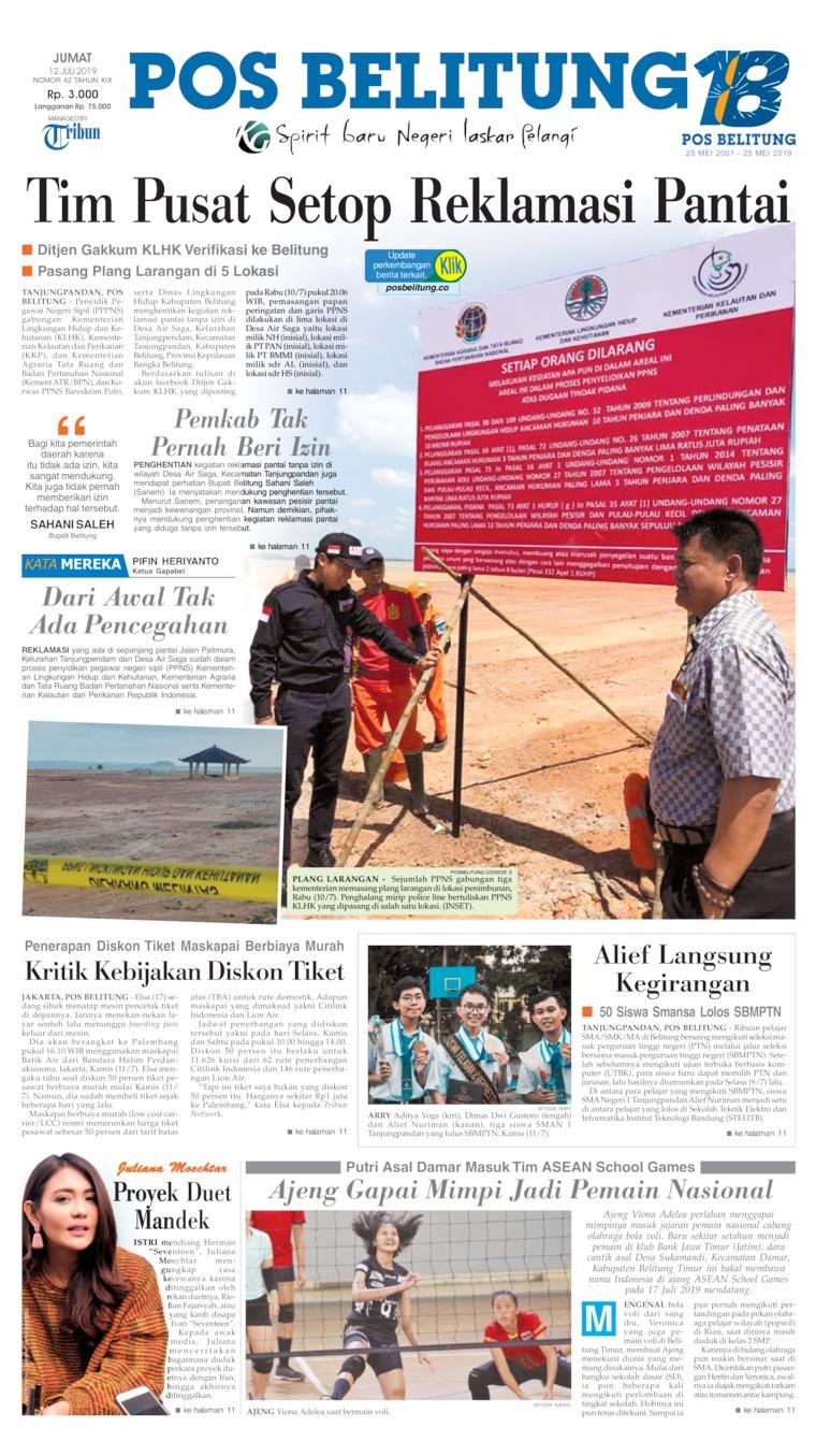 Koran Digital Pos Belitung 12 Juli 2019