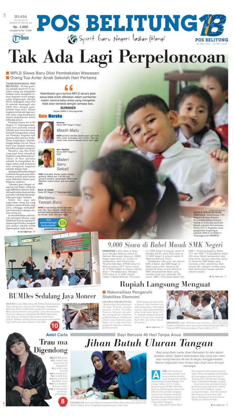 Koran Digital Pos Belitung 16 Juli 2019