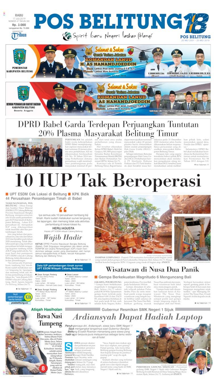 Koran Digital Pos Belitung 17 Juli 2019