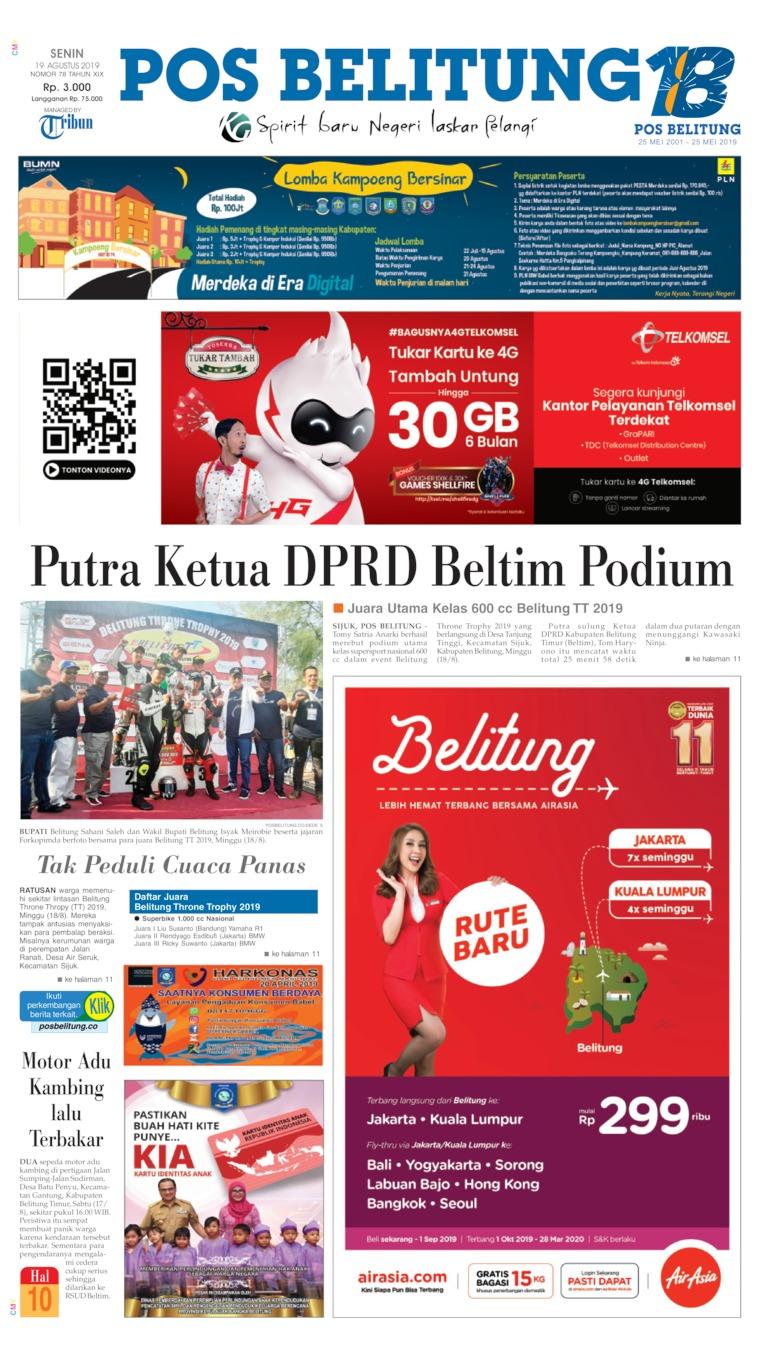 Pos Belitung Digital Newspaper 19 August 2019