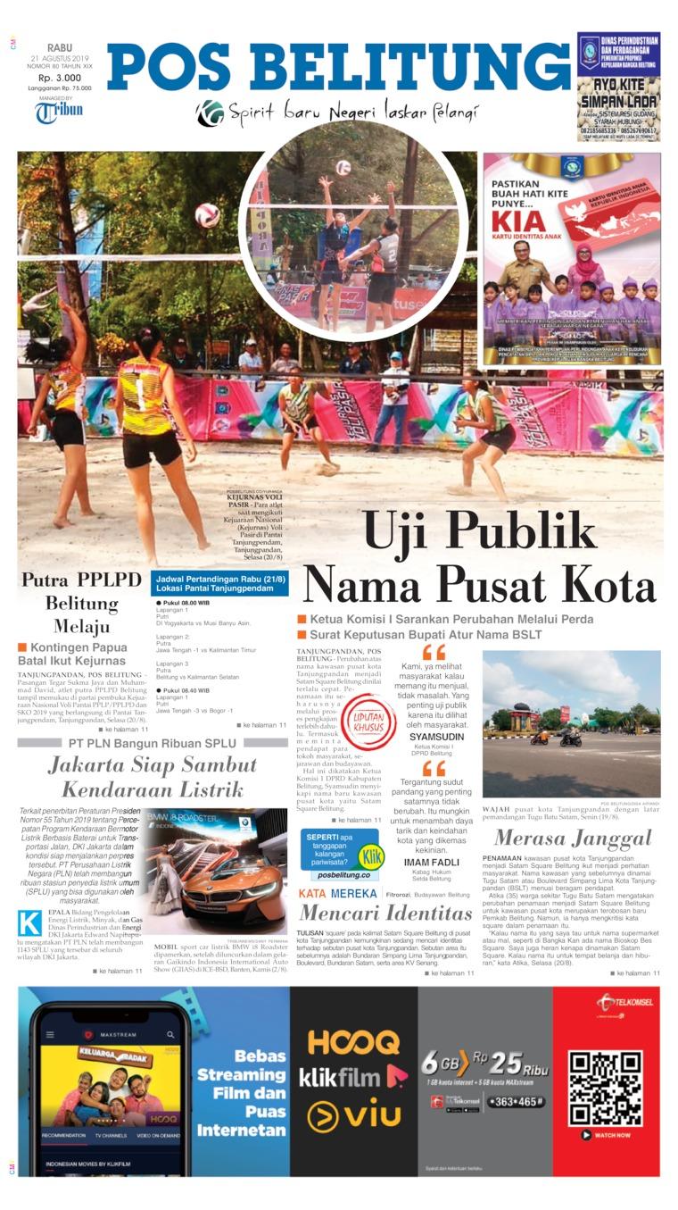 Koran Digital Pos Belitung 21 Agustus 2019