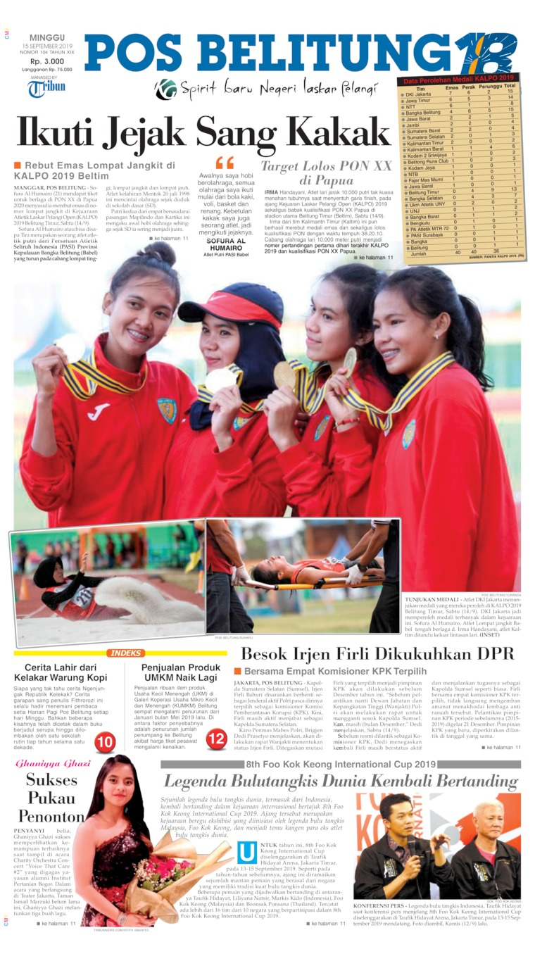 Pos Belitung Digital Newspaper 15 September 2019