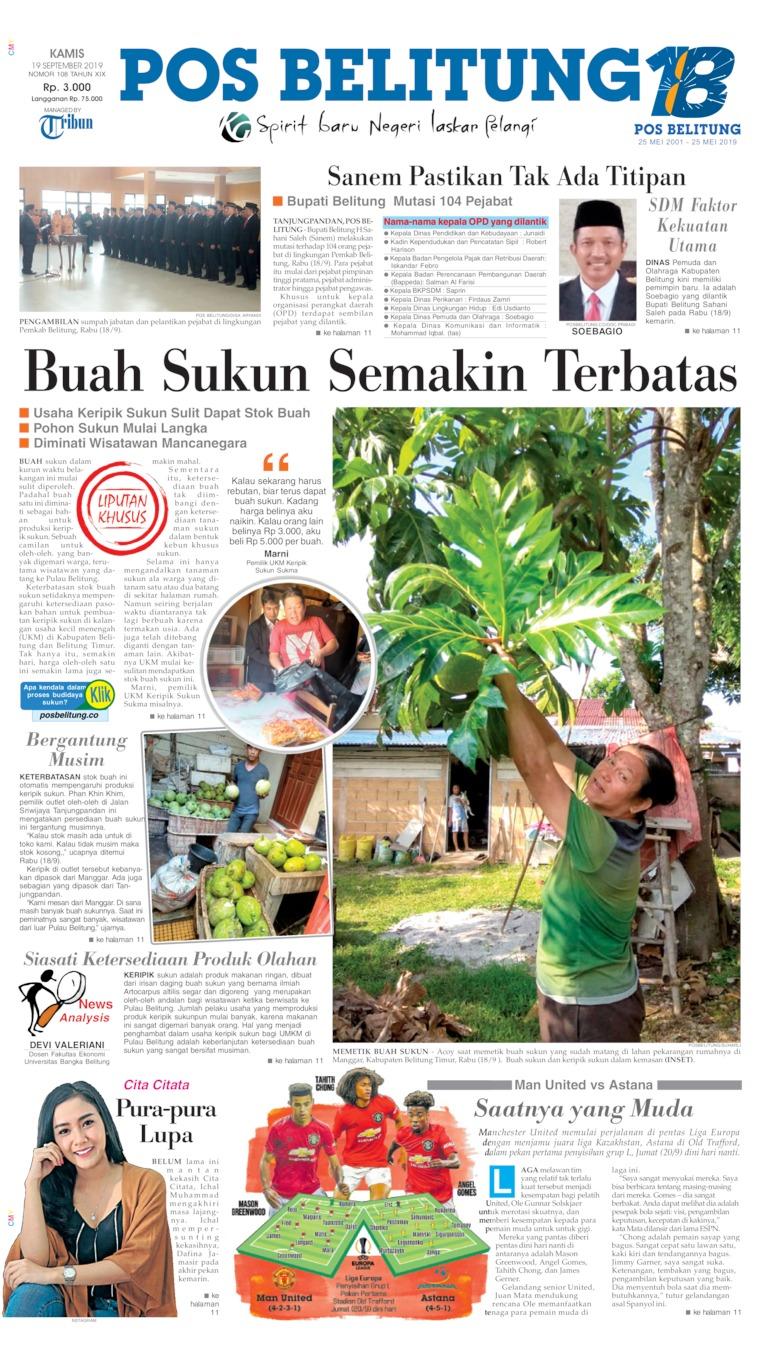 Pos Belitung Digital Newspaper 19 September 2019