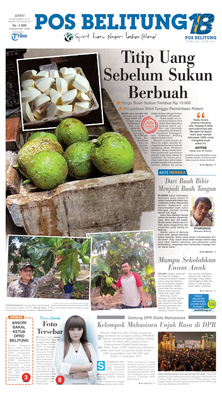 Pos Belitung Digital Newspaper 20 September 2019