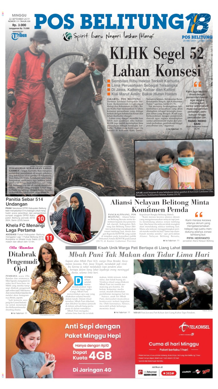 Pos Belitung Digital Newspaper 22 September 2019