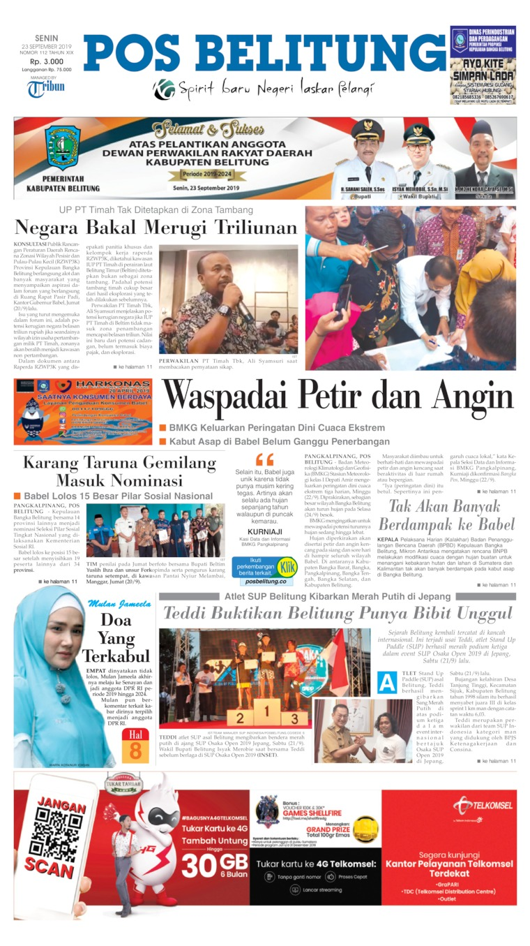Koran Digital Pos Belitung 23 September 2019