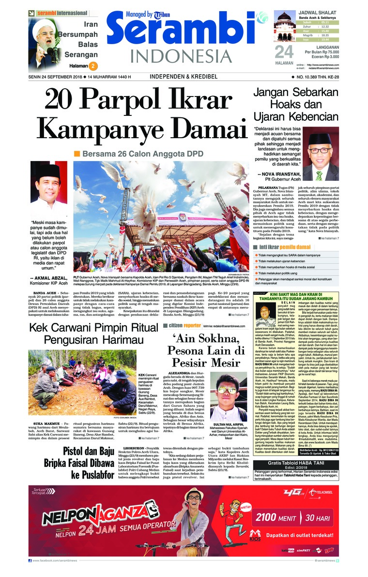 Koran Digital Serambi Indonesia 24 September 2018