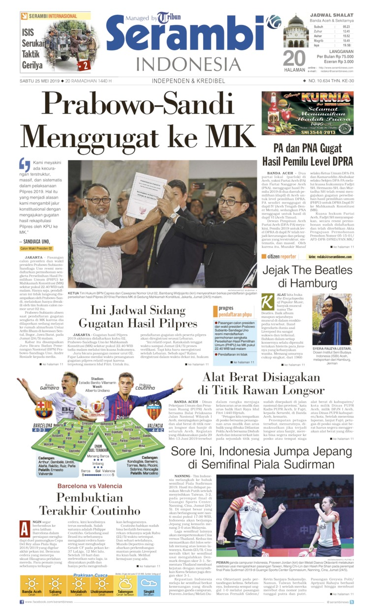 Serambi Indonesia Digital Newspaper 25 May 2019