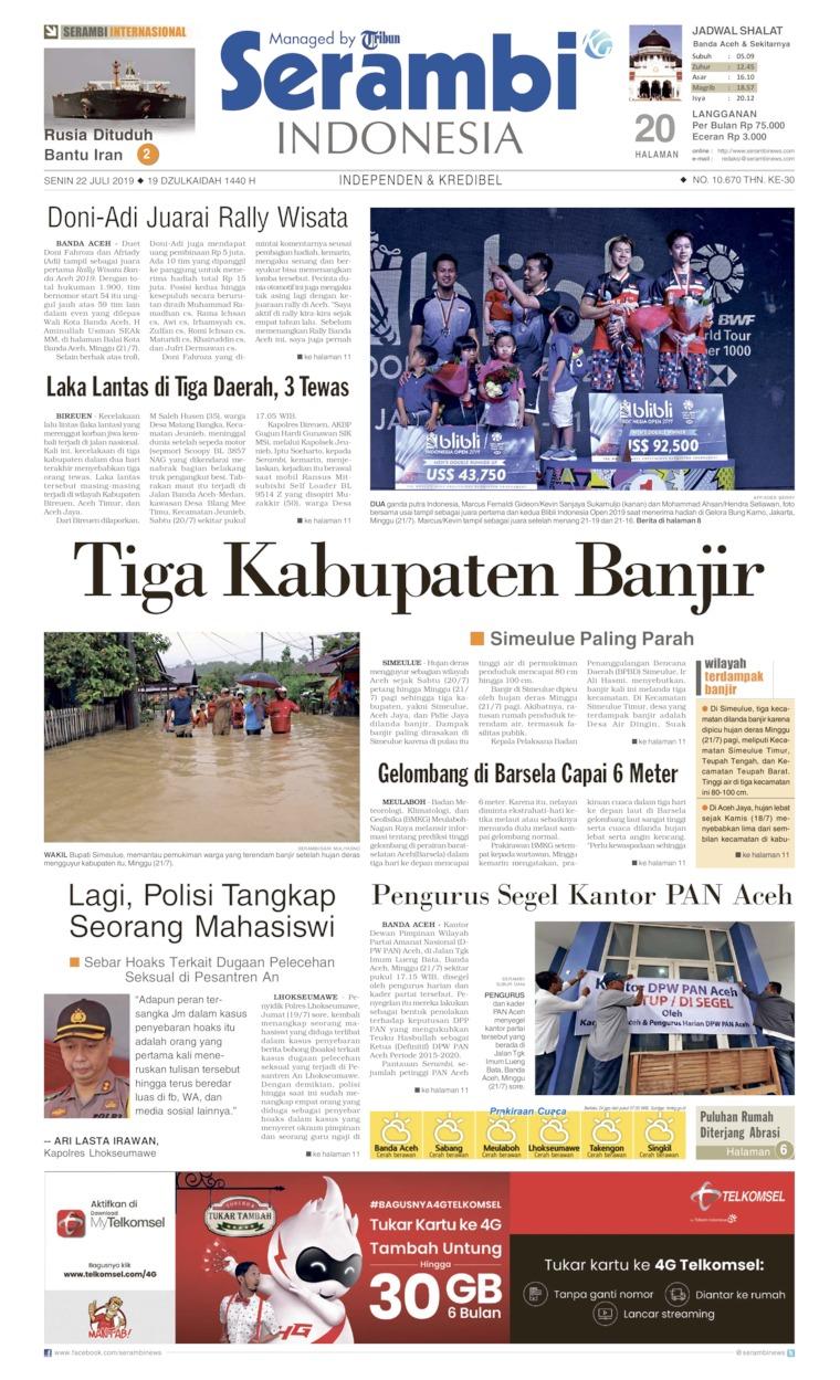 Koran Digital Serambi Indonesia 22 Juli 2019