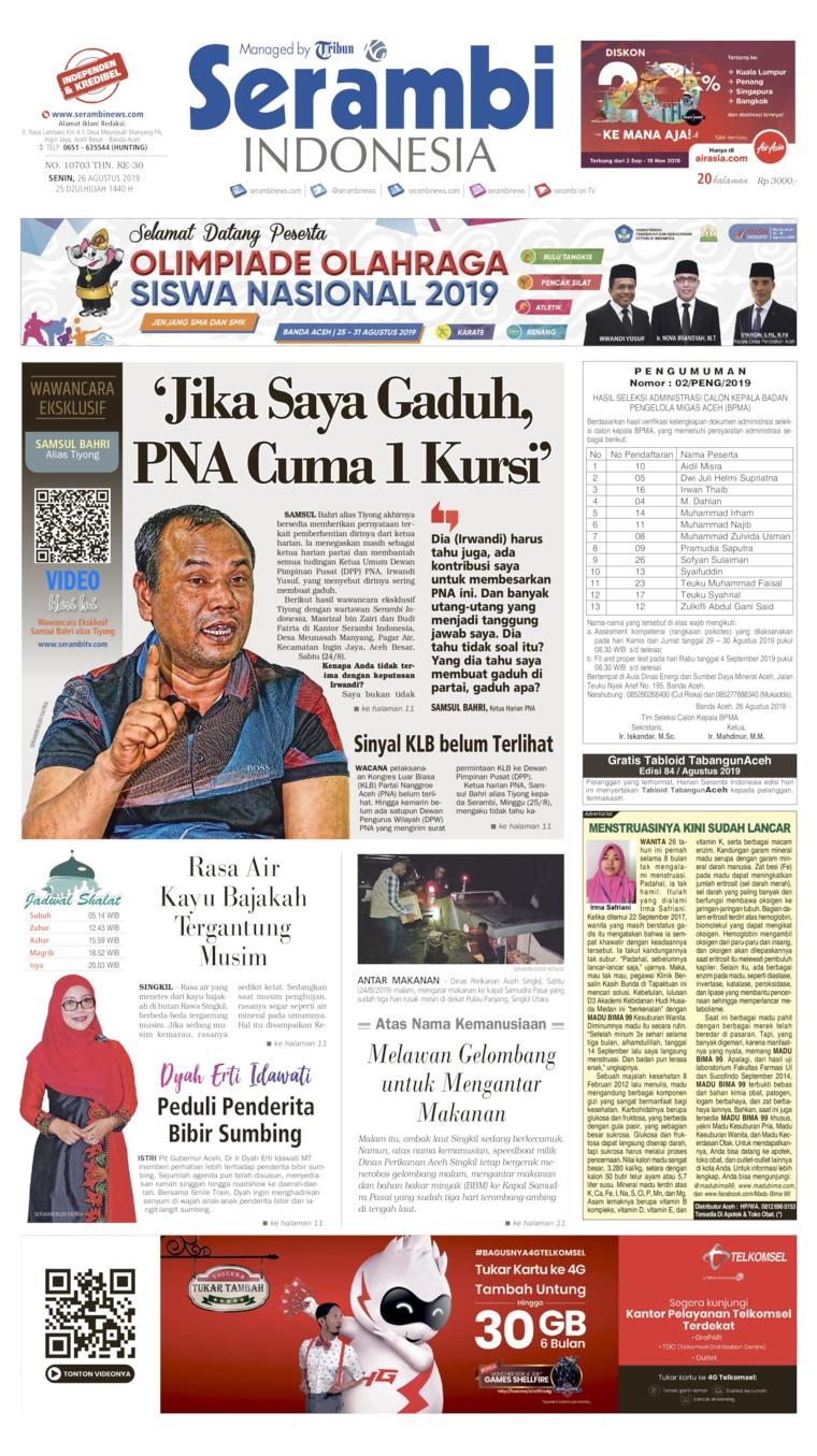 Serambi Indonesia Digital Newspaper 26 August 2019