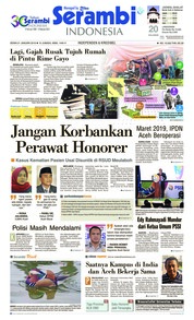 Cover Serambi Indonesia 21 Januari 2019