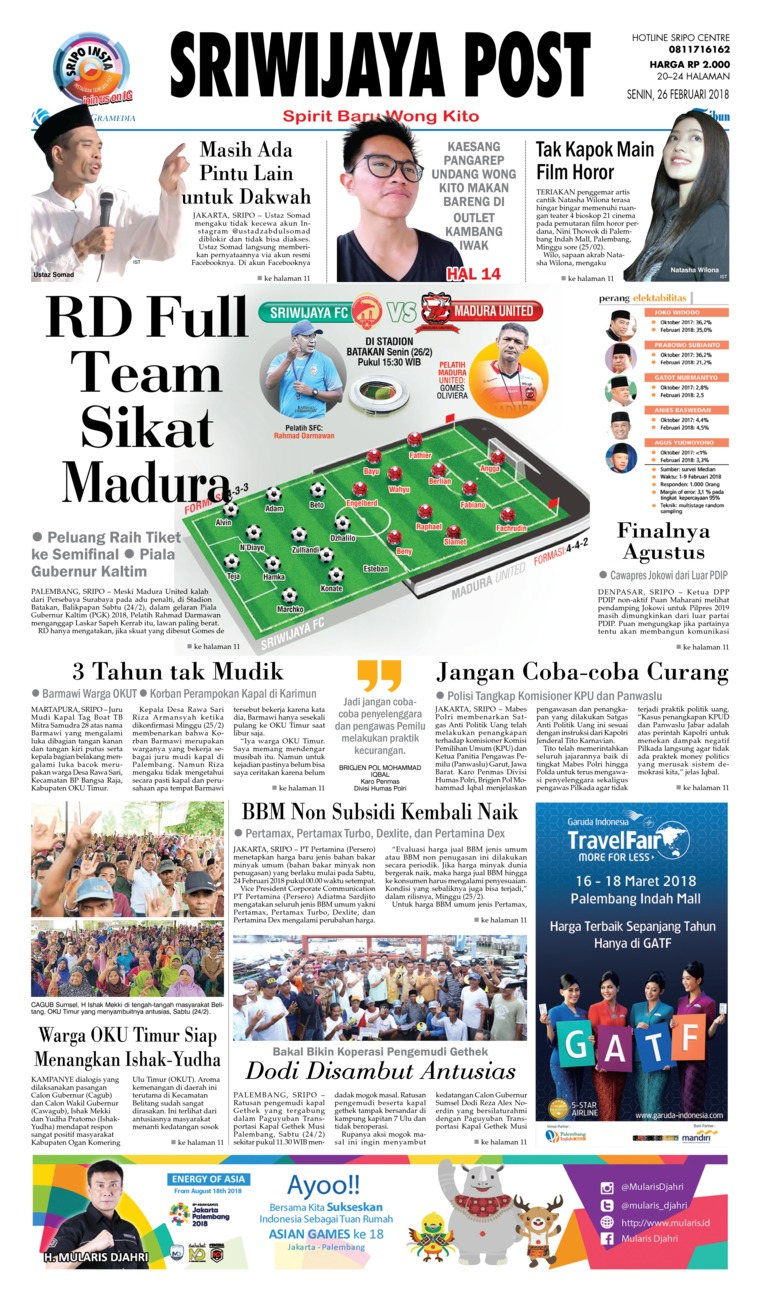 Koran Digital Sriwijaya Post 26 Februari 2018